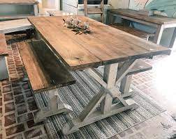 farm table with bench dining table bench etsy