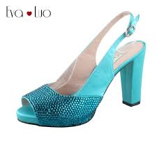 wedding shoes block heel chs706 custom made turquoise slingbacks block heel