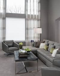 green gray living monochromatic gray living room clean lines with pops of green