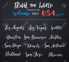 city vector lettering typography usa los angeles