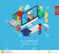 design online education online education course e learning flat 3d isometric concept stock