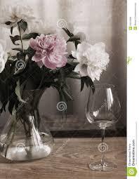 Wine Glass Flower Vase Peonies In The Glass Vase Wine Glass Stock Photo Image 55043666