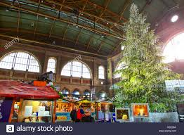 traditional christmas market in zurich railway station with famous