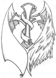 black and grey cross with wings design by streadwelljr