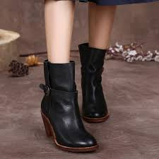 womens boots in style 2017 2017 retro style high heel boots genuine leather buckle