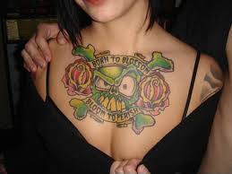 tattoos on chest for girls breast skull tattoo design for ladies chest chest tattoo