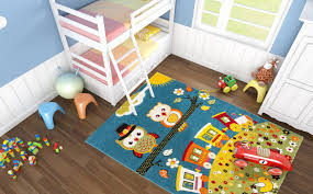 tapis chambre fille tapis pour chambre enfant blue hibou pas cher