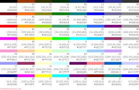 excel formatting colour palette