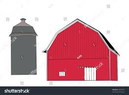 drawing red barn silo stock vector 22070497 shutterstock