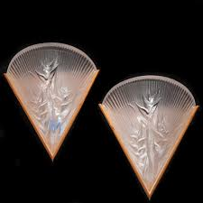 Crystal Wall Sconces by Lot 69 Lalique Heliconia Crystal Wall Sconces Akiba Antiques