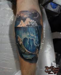 iceberg u0026 whale on guys calf best tattoo design ideas