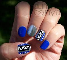 blue tribal ish nails and nail art society re launch the little