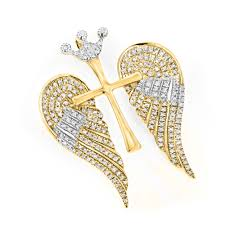 angel wing gold necklace images 14k gold unique angel wings diamond cross pendant with crown 0 4ct jpg