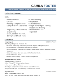 exle of a professional resume for a wide range logistics freight resume sle jenners