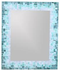 Mosaic Bathroom Mirror Coastal Mosaic Mirror Blue Sea Green Light Teal