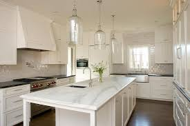 narrow kitchen with island kitchen island with corsica 1 light pendants transitional