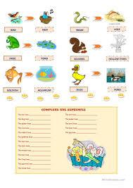 animals and their homes worksheet free esl printable worksheets