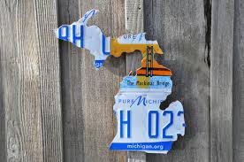 License Plate Map State Of Michigan Recycled License Plate Map Handcrafted Recycled