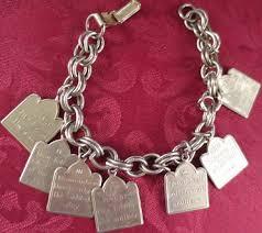 antique charm bracelet charms images Vintage silvertone ten commandments charm bracelet jpg