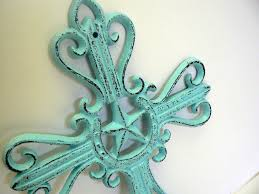 country star home decor horseshoe cast iron cross cottage chic beach blue country star