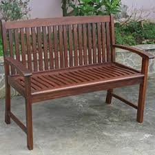 Outdoor Garden Bench International Caravan Highland 4 Ft Stained Patio Bench Free