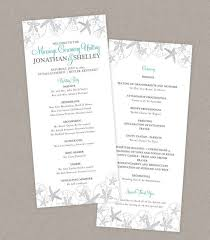 custom wedding programs diy custom wedding program card for destination wedding