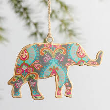 metal elephant ornaments set of 4 world market