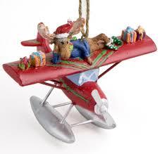 sea plane ornament with moose mypilotstore