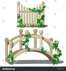 small round wooden bridge fence climbing stock vector 372934843