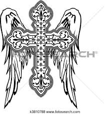 cross with wings drawing at getdrawings com free for personal use
