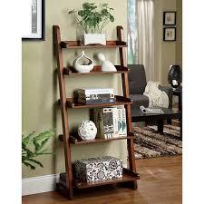 wood bookcase curio display stand ladder shelf leaning bookshelf