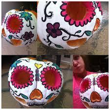 painted a sugar skull pumpkin crafts pinterest sugar skull