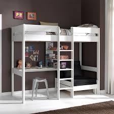 bureau surélevé lit enfant surélevé blanc avec bureau et couchette en plus