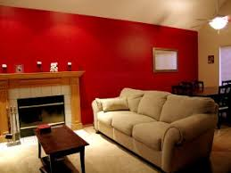 Bedroom With Red Accent Wall - painting accent walls