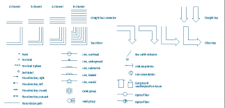 design elements transmission paths electric symbols related to
