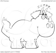 cartoon clipart of a sleeping triceratops dinosaur vector