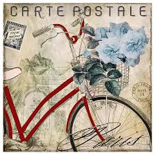 carte postale vintage bicycle painting by mindy sommers