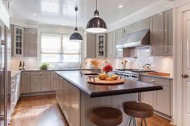 Lacquered Kitchen Cabinets Glossy Gray Lacquered Shaker Kitchen Cabinets With Gray Granite