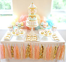pink table l pink blue and gold carousel cake table first birthday party