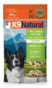 k9 natural lamb green tripe freeze dried dog food topper 2 oz bag