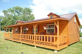 modish interiors of small log cabins using empire style table