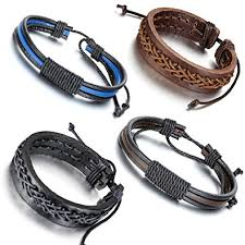 braid rope bracelet images Aroncent 4pcs handmade vintage wristband leather rope jpg