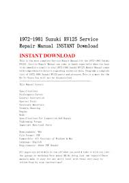 1972 1981 suzuki rv125 service repair manual instant download