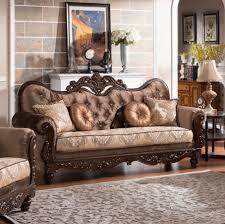 Gold Fabric Sofa Zoya Classic Dark Brown Gold Wood Fabric Sofa Living Rooms The
