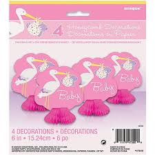 stork baby shower decorations pink stork baby shower mini honeycomb decorations 4pk walmart