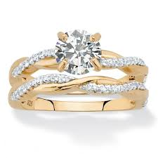 overstock wedding ring sets cubic zirconia 2 twisted wedding ring set in 18k gold