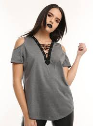 cold shoulder tops grey lace up cold shoulder top hot topic