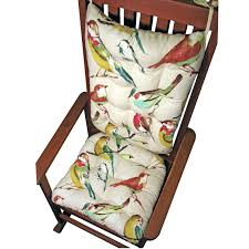 Padding For Rocking Chair Two Pieces White Cotton Upholstered Seat And Back With Colorful Birds Ornaments With Rocking Chair Cushions And Rocking Chair Padding Jpg