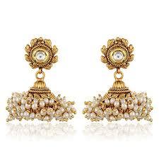 fancy jhumka earrings 18k gold plated traditional jewellery stylish fancy party wear