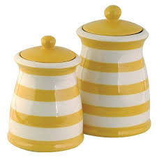 kitchen ceramic canister sets amazon com yellow white striped ceramic canister set 3 kitchen